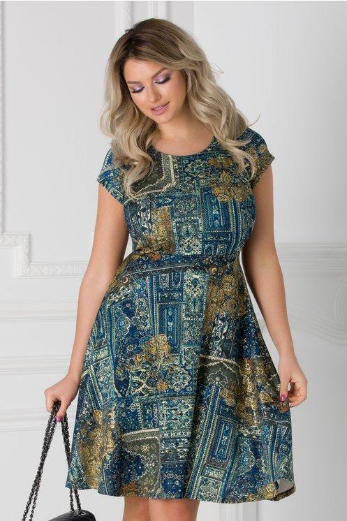 Rochie Katy cu imprimeu vintage albastru