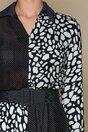 Rochie Keysa neagra cu imprimeu alb si curea in talie