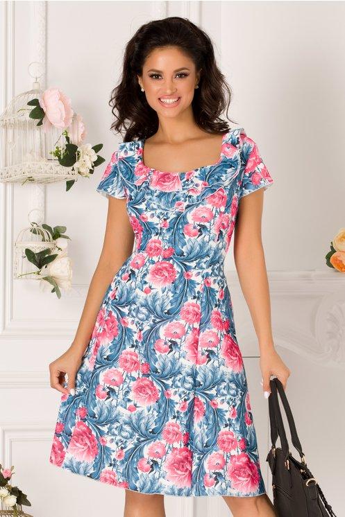Rochie Kian alba cu imprimeu floral albastru-roz si volane la guler