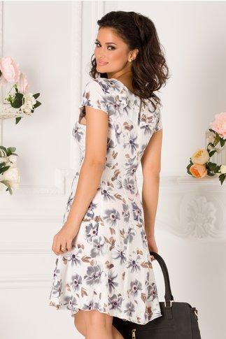 Rochie Kian alba cu imprimeu floral gri si volane la guler