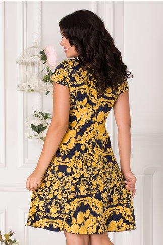 Rochie Kian bleumarin cu imprimeu divers galben si volane la guler