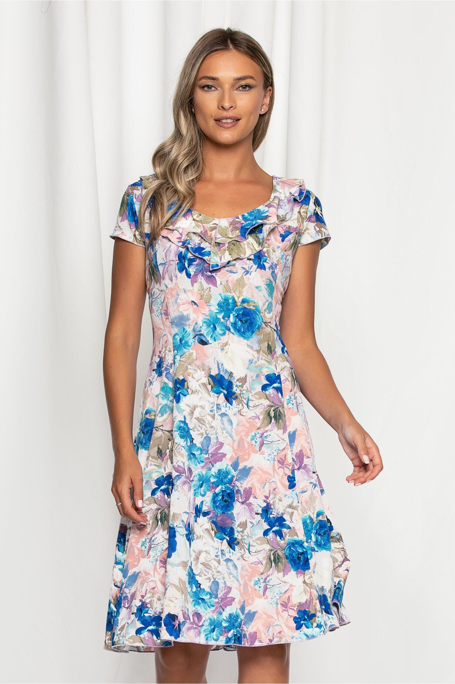 Rochie Kian cu imprimeu floral albastru si pasteluri