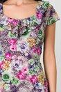 Rochie Kian gri cu flori colorate