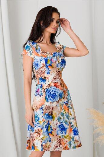 Rochie Kian in nuante de orange cu flori bleu