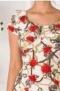 Rochie Kian ivoire cu imprimeu chain si volane la guler