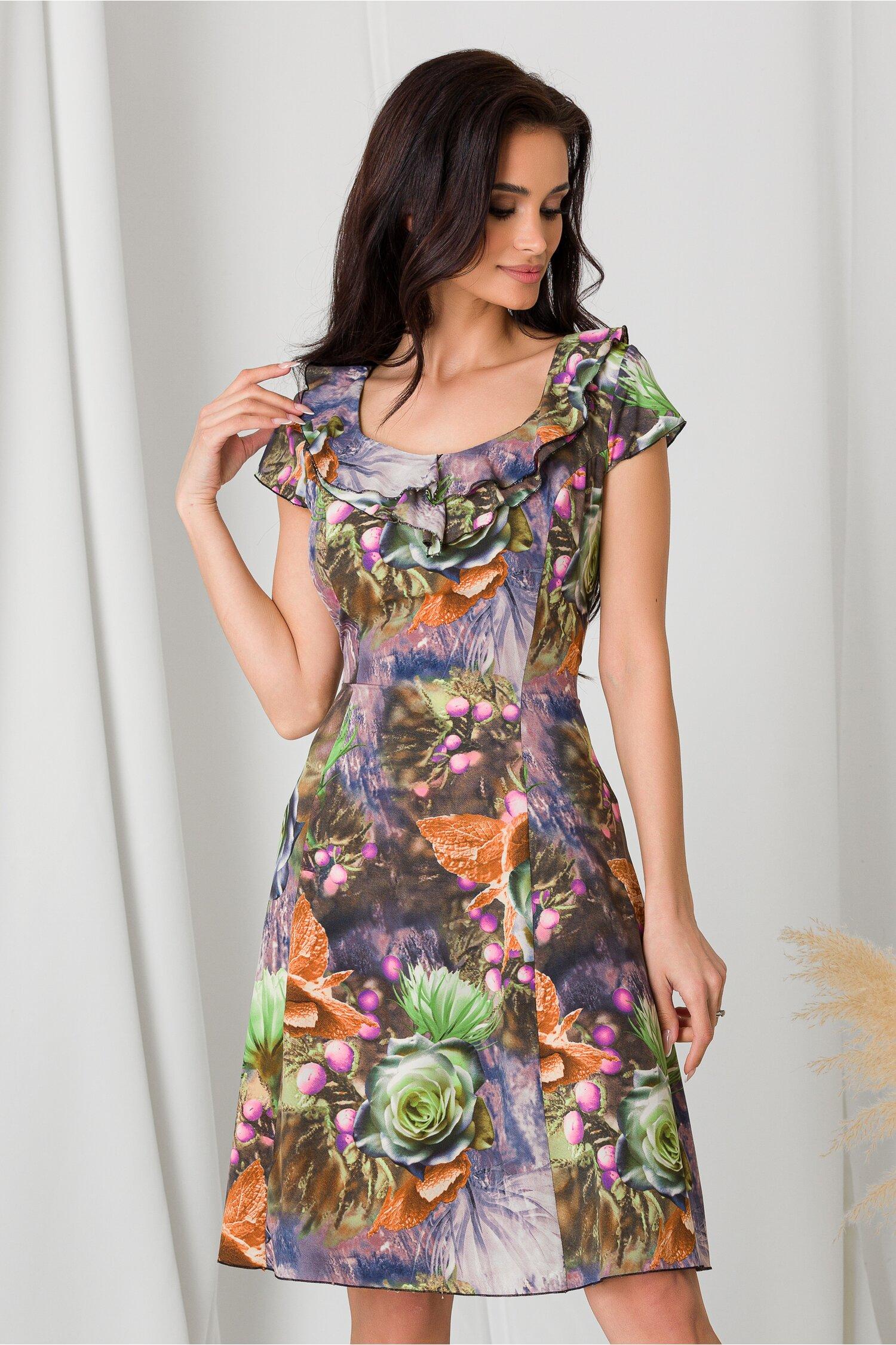 Rochie Kian lila cu imprimeuri in nuante de verde imagine dyfashion.ro 2021