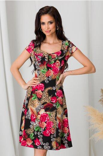 Rochie Kian neagra cu trandafiri rosii si animal print