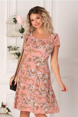 Rochie Kian roz cu imprimeu chain si volane la guler