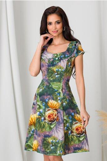 Rochie Kian verde cu flori galbene