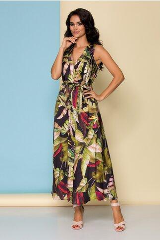 Rochie Kiara neagra cu imprimeu floral