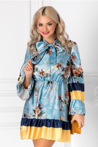 Rochie Kim bleu cu imprimeu floral