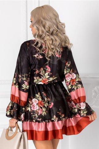 Rochie Kim neagra cu imprimeu floral