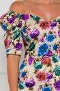 Rochie Kimberly bej cu imprimeuri florale colorate si umeri bufanti