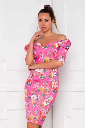 Rochie Kimberly roz cu imprimeuri florale si umeri bufanti