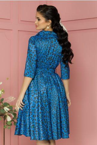 Rochie Kira albastra cu animal print