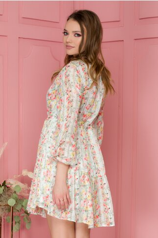 Rochie Kisha alba cu imprimeu floral si fir de lurex