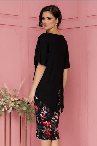 Rochie Kori neagra cu imprimeu floral la baza