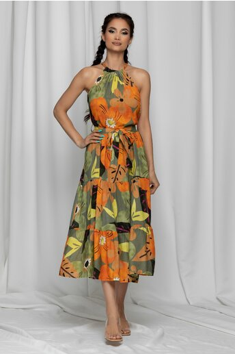 Rochie Kyla verde cu imprimeu floral multicolor maxi