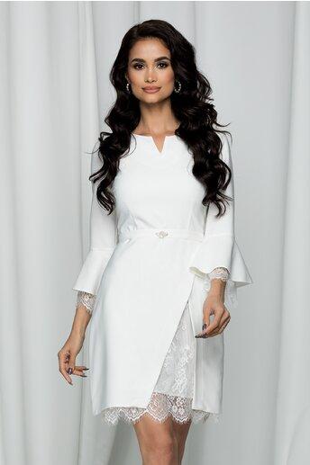 Rochie LaDonna alba accesorizata cu dantela