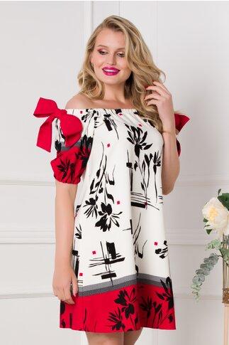 Rochie LaDonna alba cu imprimeu divers geometric si floral