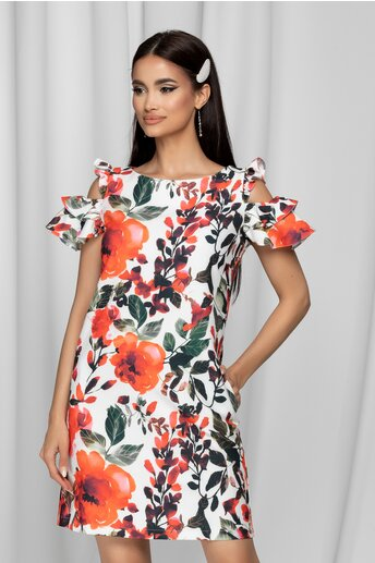 Rochie LaDonna alba cu imprimeu floral rosu si buzunare functionale