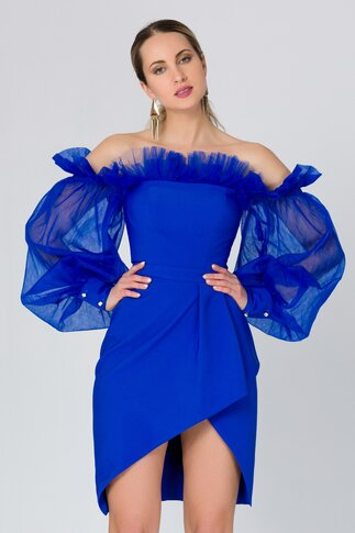 Rochie LaDonna albastra accesorizata cu tull delicat