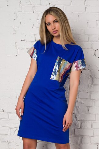 Rochie LaDonna albastra casual accesorizata cu paiete reversibile