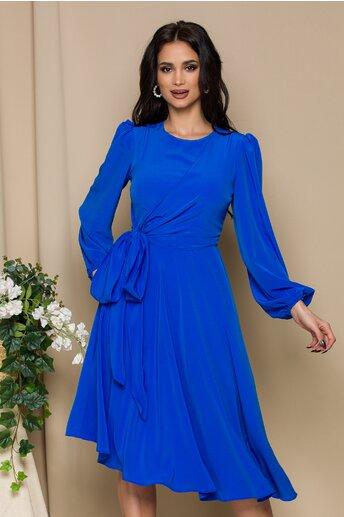 Rochie LaDonna albastra cu design cu funda la bust