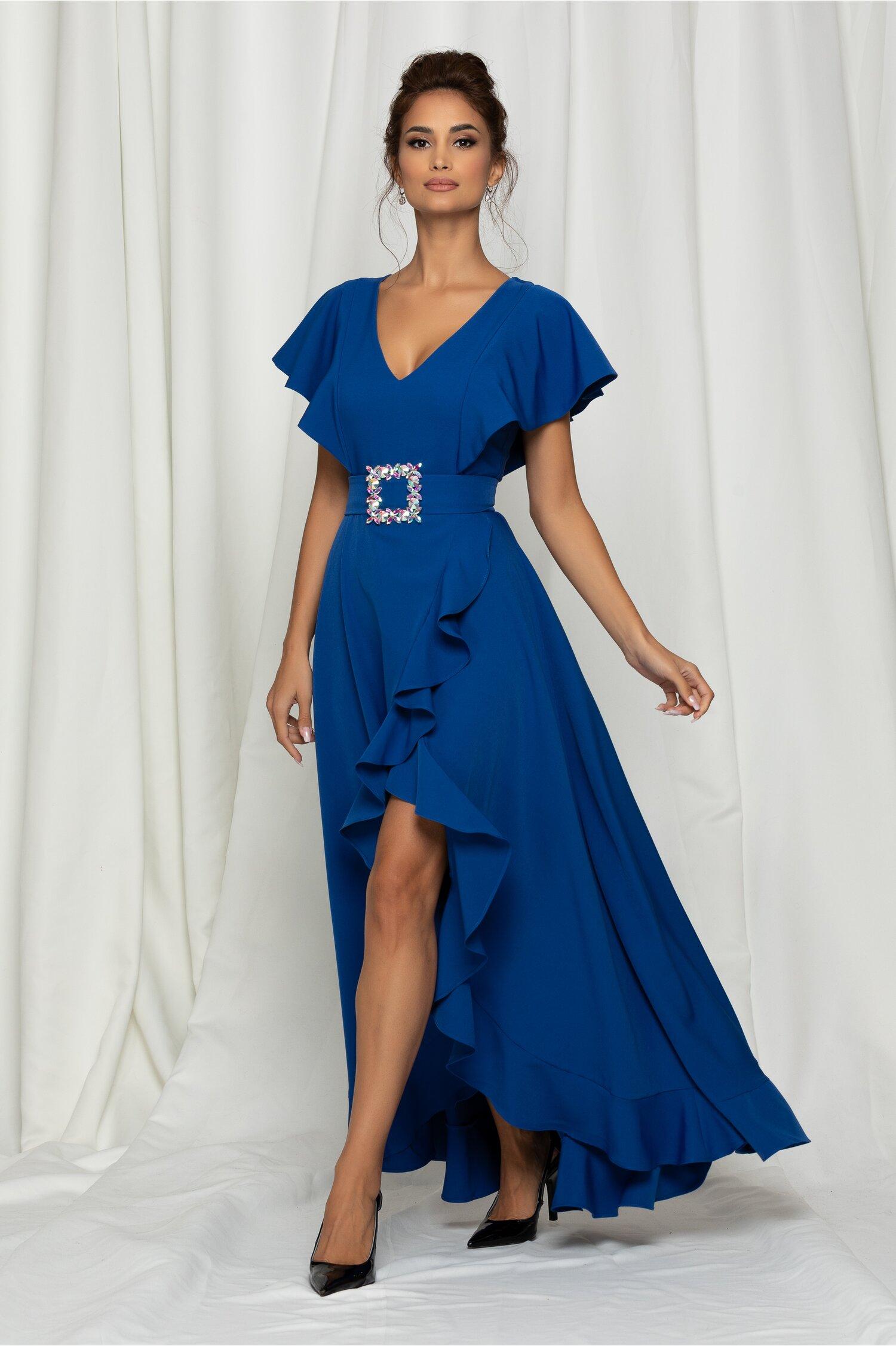 Rochie LaDonna albastra cu maneci tip fluture si curea in talie