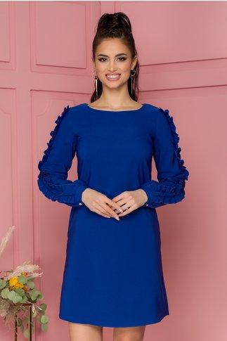Rochie LaDonna albastra cu volanase pe maneci