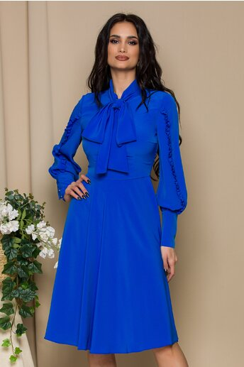 Rochie LaDonna albastra cu volanase pe maneci si guler tip esarfa