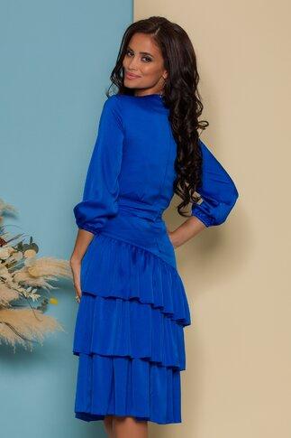 Rochie LaDonna albastra cu volane la baza