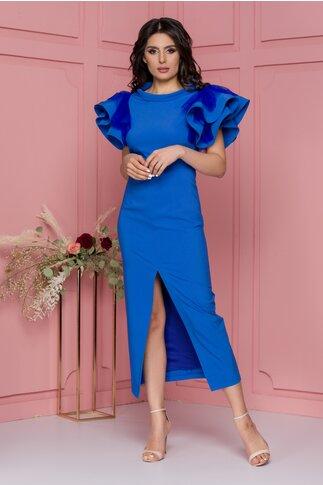 Rochie LaDonna albastra cu volane la maneci si crepeu in fata