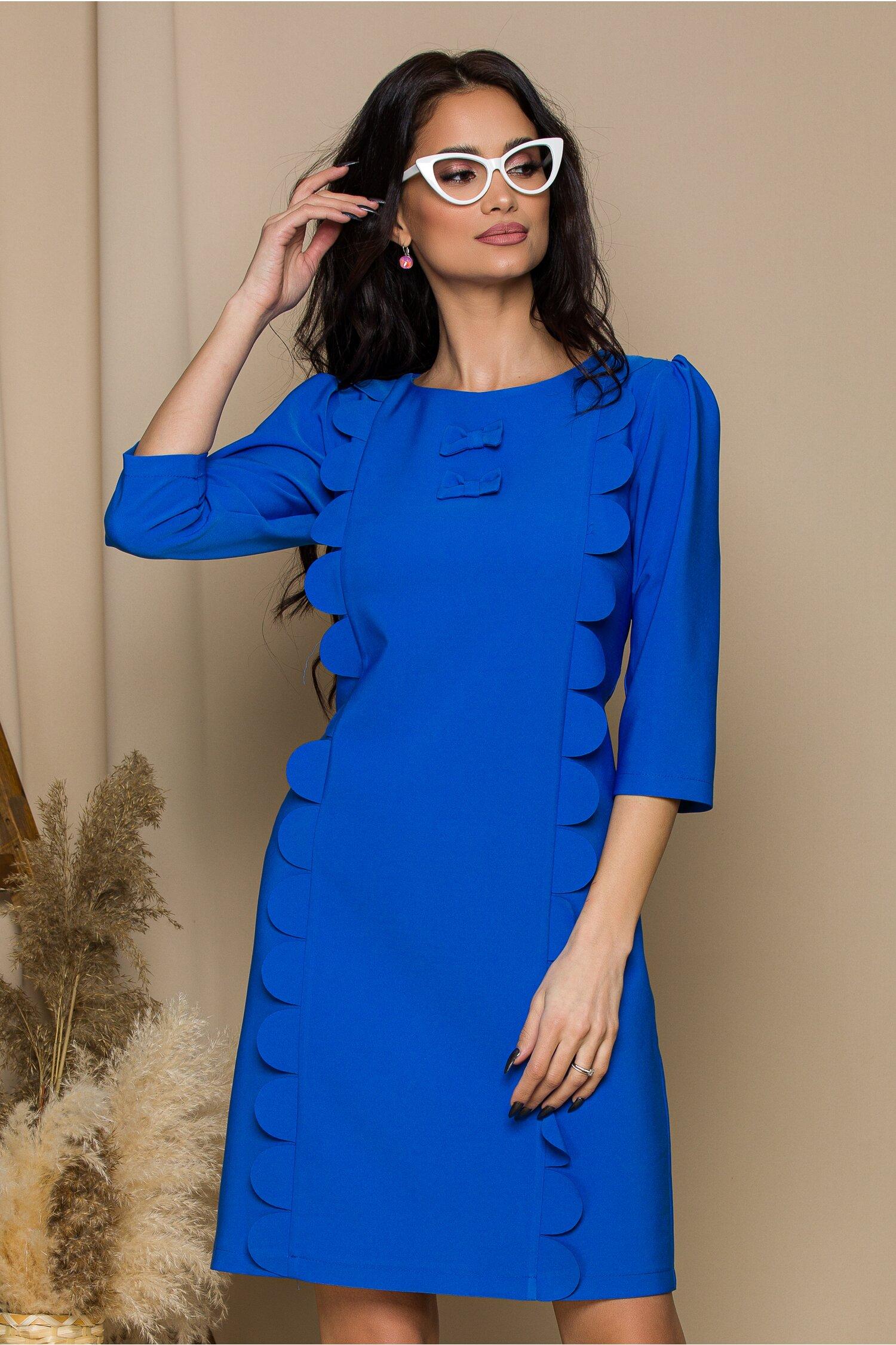 Rochie LaDonna albastru cu aplicatii tip petale