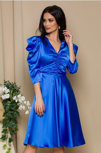 Rochie LaDonna albastru regal cu pliuri la bust