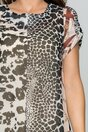 Rochie LaDonna bej cu animal print si decolteu rotund