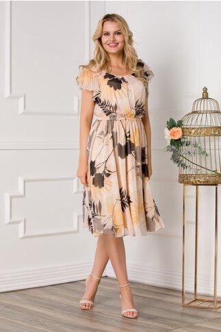 Rochie LaDonna bej cu imprimeuri florale si elastic in talie