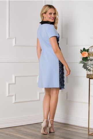 Rochie LaDonna bleu cu broderie si guler negru