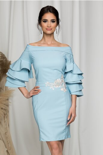 Rochie LaDonna bleu cu decolteu larg si broderie florala