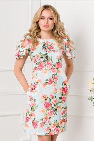 Rochie LaDonna bleu cu decupaje la umeri si imprimeu floral