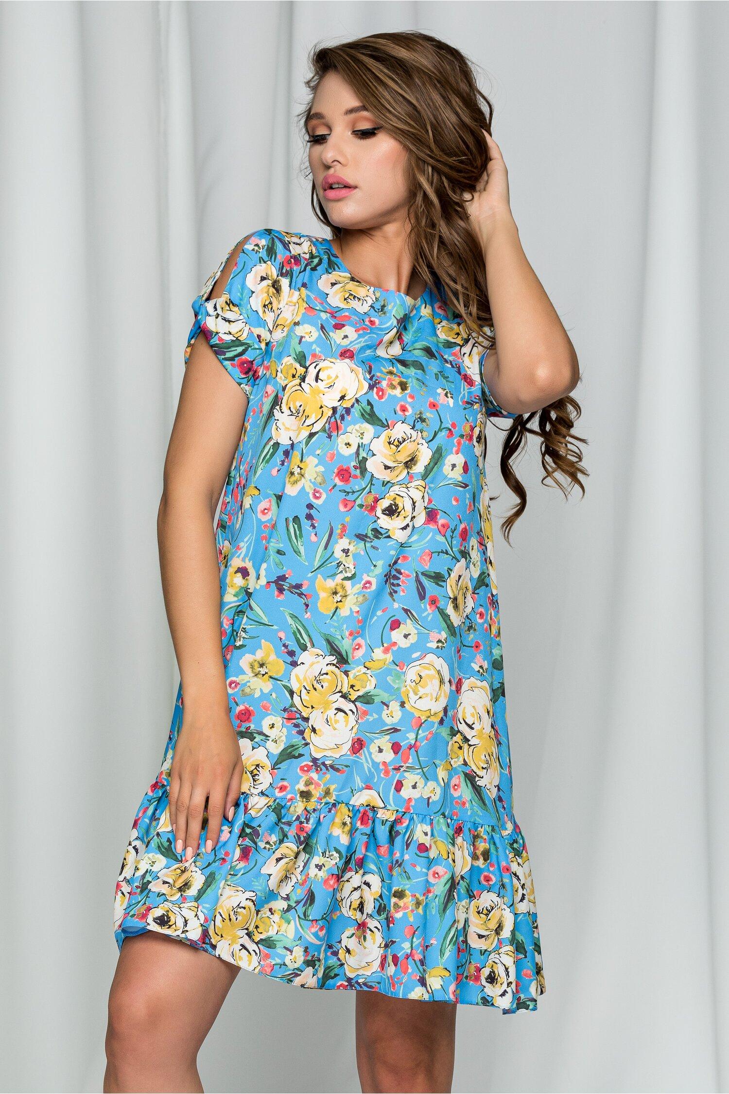 Rochie LaDonna bleu cu imprimeu floral si decolteu in v
