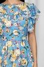 Rochie LaDonna bleu cu imprimeu floral si volan la maneci si bust dublat de tull