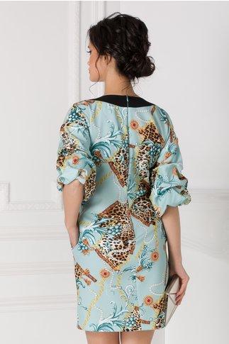 Rochie LaDonna bleu cu imprimeuri multicolore si maneci bufante