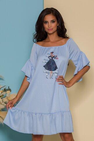 Rochie LaDonna bleu din satin cu volane si imagine imprimata pe fata