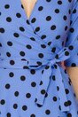 Rochie LaDonna bleu petrecuta cu buline negre imprimate si tull la baza