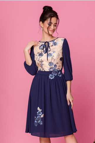 Rochie LaDonna bleumarin cu bej la bust si broderie florala