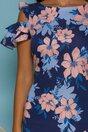 Rochie LaDonna bleumarin cu imprimeu floral maxi si buzunare functionale