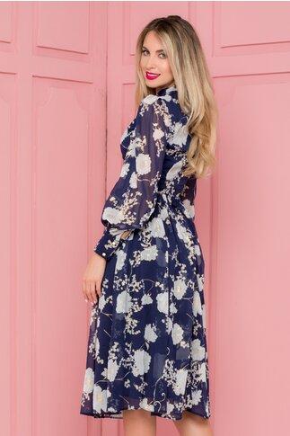 Rochie LaDonna bleumarin cu imprimeuri florale si detalii aurii