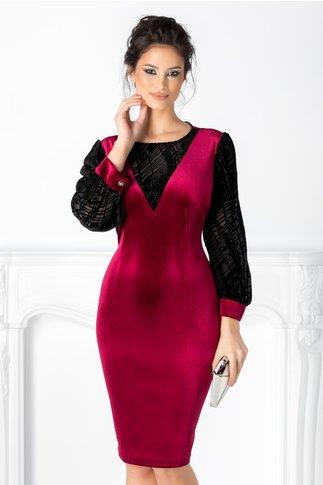 Rochie LaDonna burgundy cu insertii negre