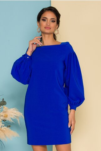 Rochie LaDonna by Catalin Botezatu albastra cu pliuri pe maneci